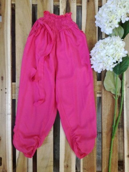 Панталон с ластик в цвят корал